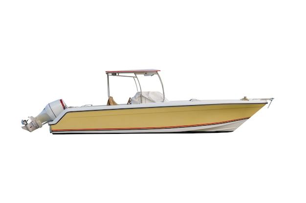 Желтая моторная лодка с тентом от солнца, изолированные на белом
