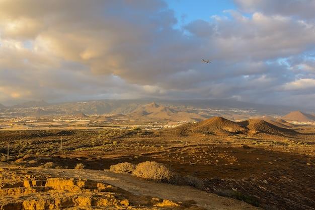 The yellow mountain near the costa del silencio, tenerife, the canaries
