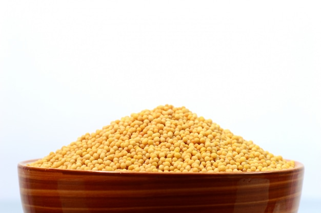 Yellow mustard seeds in bowl isolated