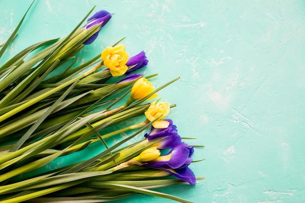 青い背景に分離されたラインフラワーアレンジメントの黄色い水仙の花と紫色の菖蒲。美しい春の花幸せな母親のデイコピースペース