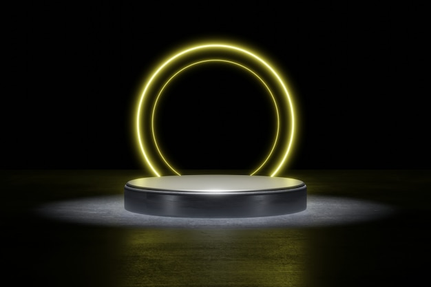 Yellow neon light product background stage or podium pedestal on grunge street floor with glow spot