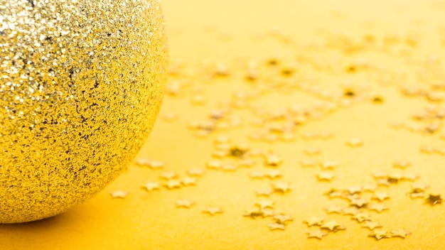 Yellow new year festive background, christmas celebration mockup with copy space.