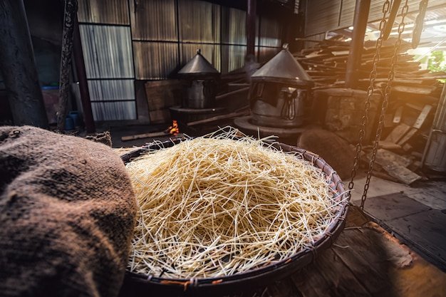 Yellow noodles or mee sua food drying