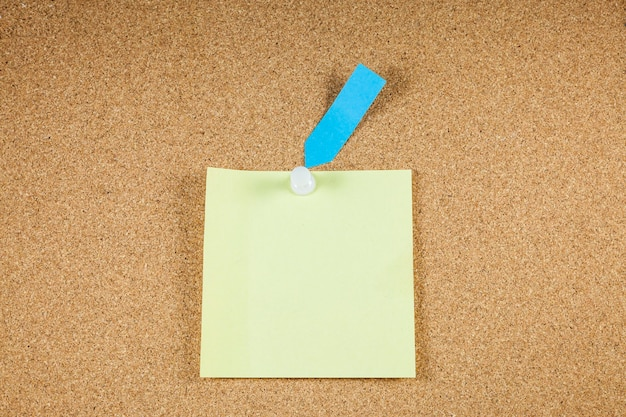 Yellow note papers on corkboard.