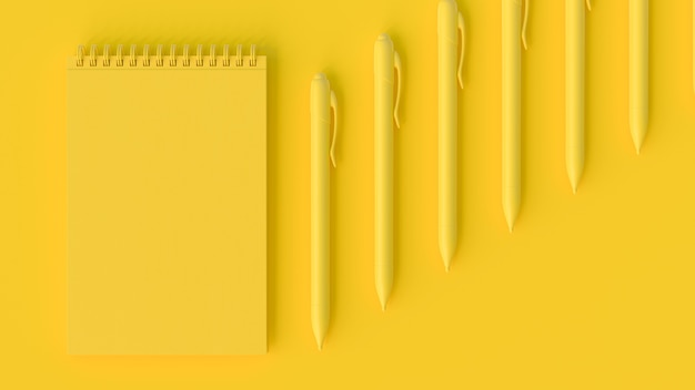 Yellow notebook and pen. minimal idea concept, 3d render.