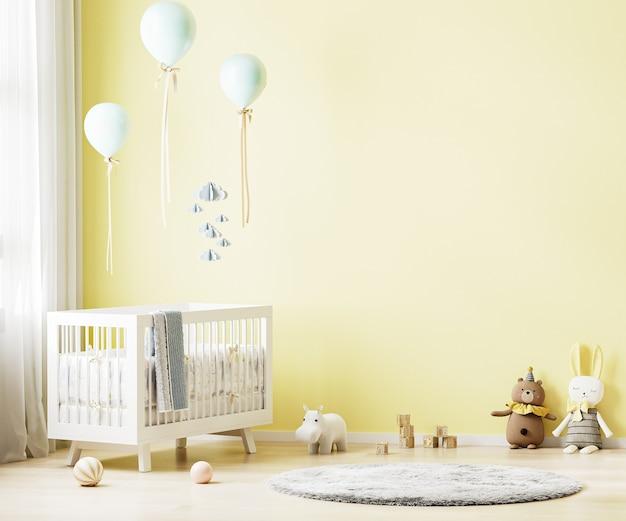 赤ちゃんの寝具と黄色の保育室のインテリアの背景