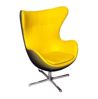白で隔離黄色のオフィスモダンチェア