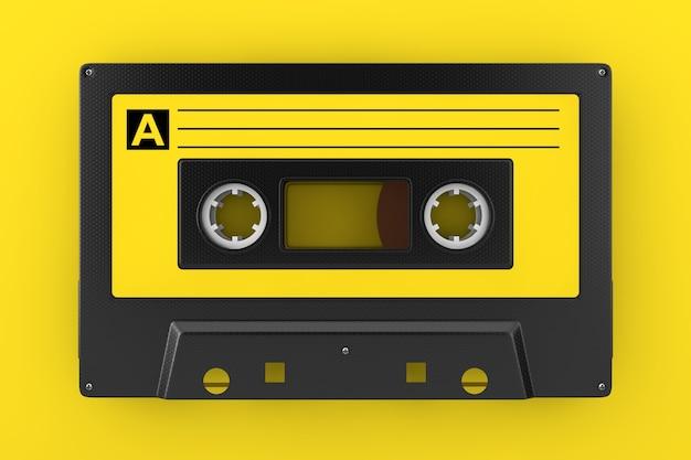 노란색 배경에 노란색 오래 된 빈티지 오디오 카세트 테이프. 3d 렌더링