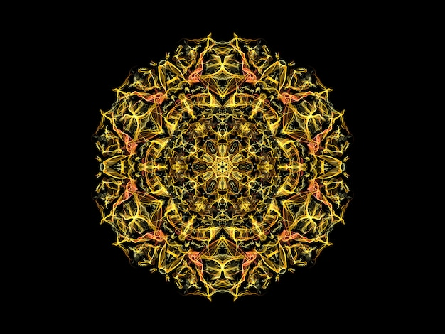 Yellow and orange abstract flame mandala flower,  ornamental floral round pattern on black background