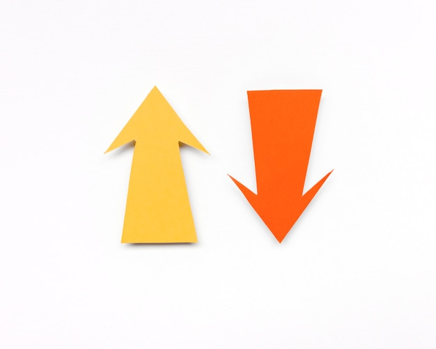 Yellow and orange arrow signs