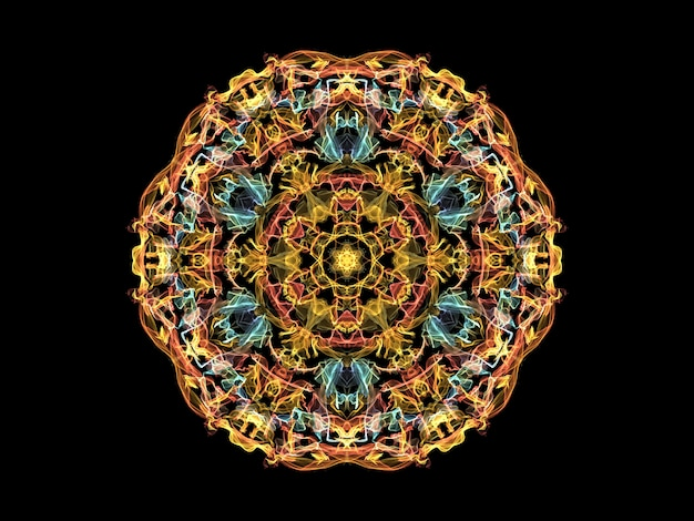 Yellow, orange and blue abstract flame mandala flower