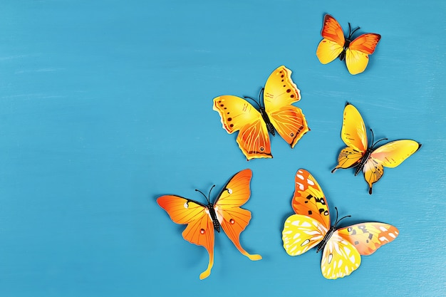 Yellow and orange butterflies on blue background. top view. summer background. flat lay.