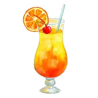 オレンジとチェリーのイエローオレンジカクテルサンライズ。手描きの水彩イラスト。孤立。