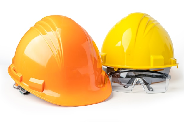 Yellow and orange construction helmet safety glasses