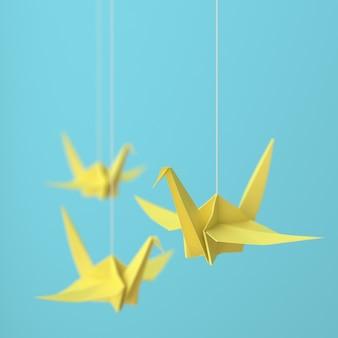 Желтый журавлик оригами