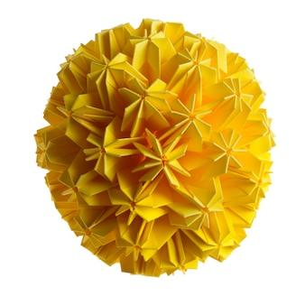 白い背景で隔離の黄色の折り紙ユニットの花