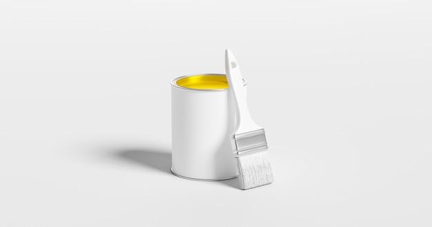 Желтая краска может ведро цвета контейнера искусство и инструмент кисти для ремонта дома дизайн, изолированные на белом фоне с яркими творческими красочными чернилами концепции. 3d-рендеринг.
