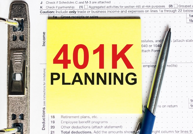 Yellow paper with text 401k planning. business concept