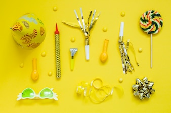 Yellow party decoration elements
