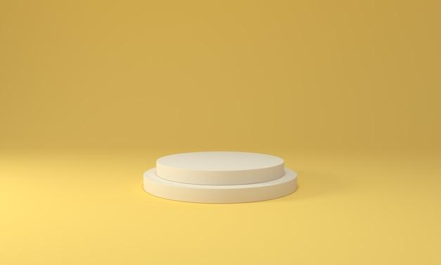 製品とデザインを表示する黄色のパステルペデスタル。勝者のコンセプト。 3dレンダリング。