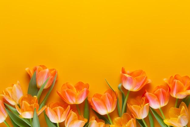 Желтые пастельные цвета тюльпанов на желтом фоне. ретро винтажный стиль. натюрморт, плоская планировка.