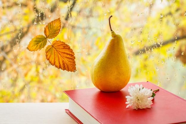 노란 배, 빨간 책, 흰 꽃, 마른 잎이 흐릿한 자연 배경에 물방울이 있는 창문 유리에 있습니다. 백그라운드에서가 나무와 창유리에 떨어진된 잎.