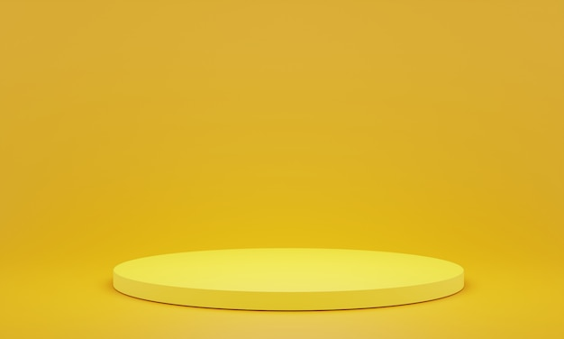 Yellow pedestal for display. empty product stand with geometrical shape. 3d render.