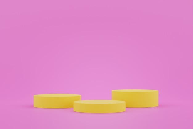 디스플레이 용 노란색 받침대. 기하학적 형태의 빈 제품 스탠드. 3d 렌더링