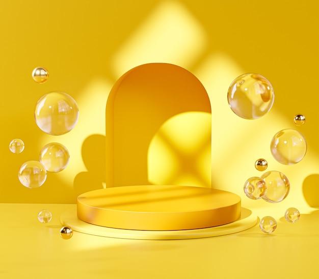 Yellow pedestal podium stage door glass balls sphere display product 3d rendering