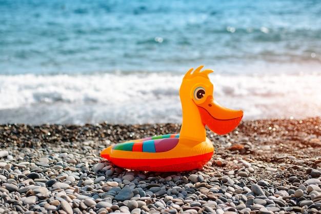 Yellow pelican duck ring for kids