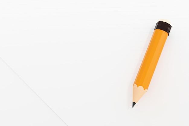 アートワーク、3 dイラスト画像の空白の白い紙に消しゴム付きの黄色の鉛筆。