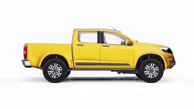 흰색 바탕에 노란색 픽업 자동차입니다. 3d 렌더링. 프리미엄 사진