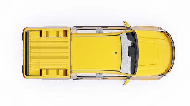흰색 바탕에 노란색 픽업 자동차입니다. 3d 렌더링.