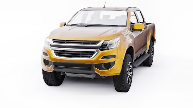 Yellow pickup car on a white background. 3d rendering.