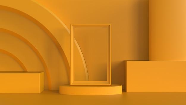 Желтая фоторамка на эллиптической сцене с кубическим цилиндром и овальным подиумом