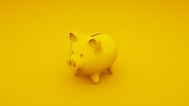 Yellow piggy bank. 3d illustration.