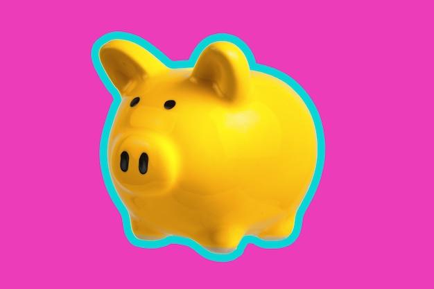 ピンクの背景に黄色の貯金箱