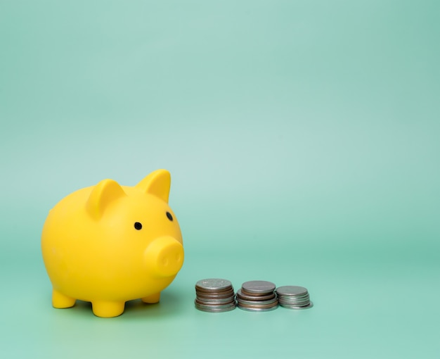 Yellow piggy bank and stack coins on green background