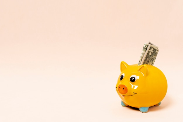 Yellow piggy bank with money and copy space background