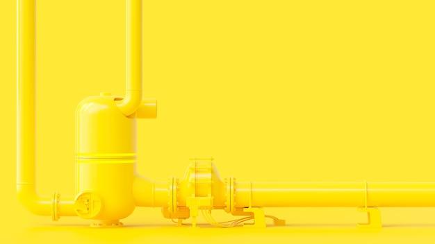 노란색 파이프 라인, 최소 및 에너지 개념. 3d 렌더링.