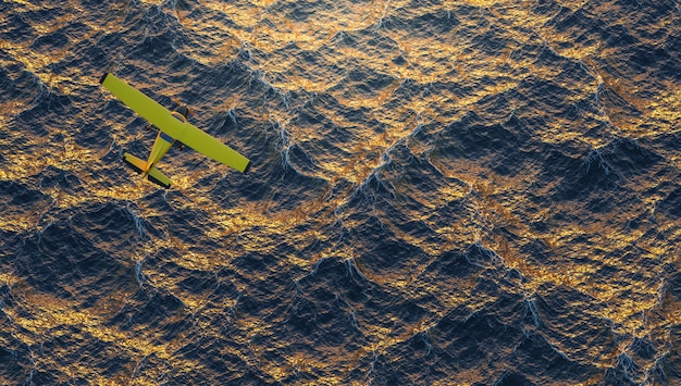Yellow plane flying over the ocean in an intense sunset. 3d render