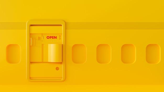 背景のドアと窓の中の黄色い飛行機。旅行最小限のアイデアコンセプト、3 dレンダリング。