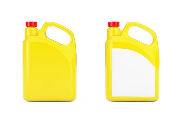 흰색 바탕에 빈 공간이 있는 노란색 플라스틱 빈 컨테이너 용기. 3d 렌더링