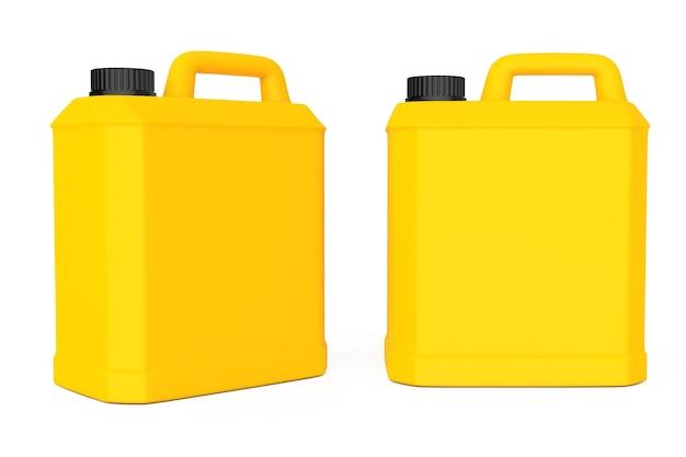 白い背景の上の黄色のプラスチック製の空白のコンテナ。 3dレンダリング。