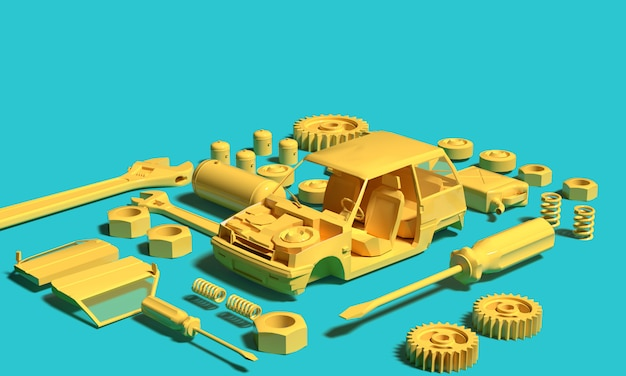 Yellow plastic model car with tools part