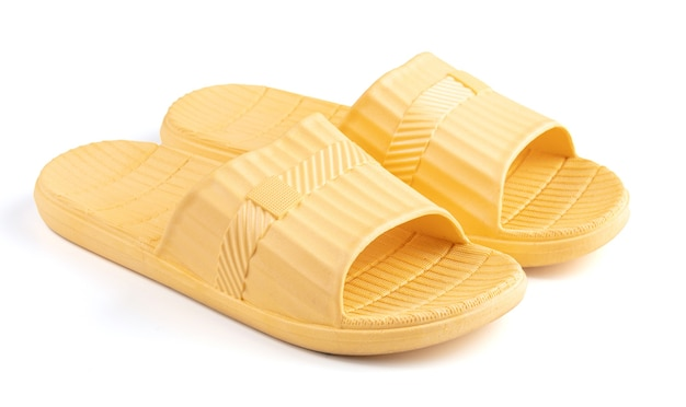 Yellow plastic sandal for swimming pool isolated