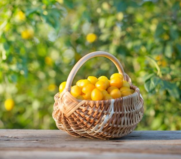 屋外の木製のテーブル上のバスケットの黄色い梅