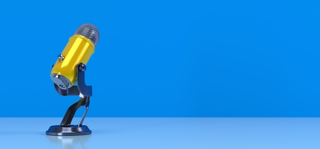 Yellow podcast microphone on blue