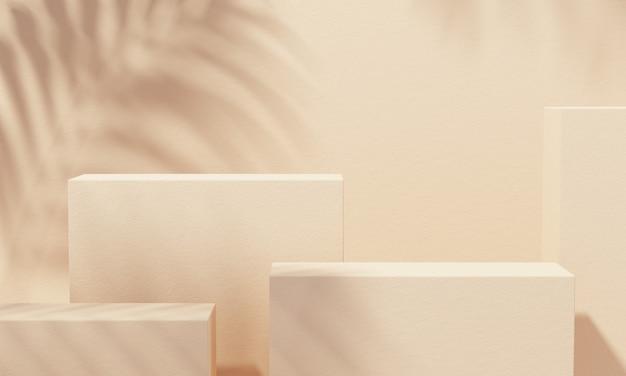 제품 프레젠테이션을 위한 선물 상자가 있는 배경에 노란색 연단 및 나뭇잎 그림자