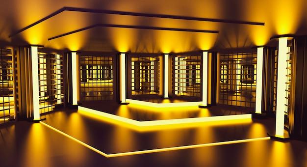 Yellow podium decoration empty room